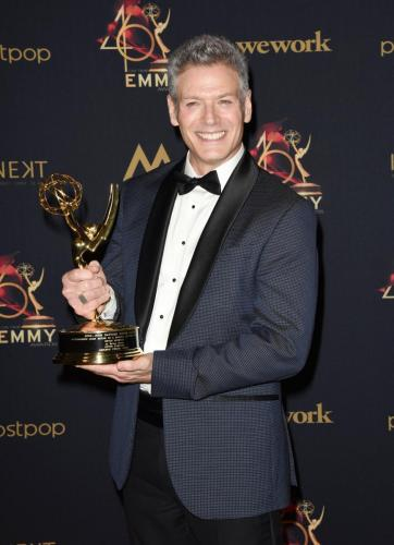 "Kevin Spirtas backstage after winning Outstanding Lead Actor in a Digital Drama Series for ""After Forever""."