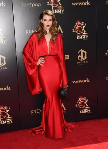 DAYS Linsey Godfrey looks fab in red.