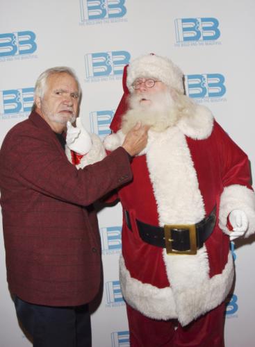 Who is wearing the faux beard? B&B's John McCook or Santa?