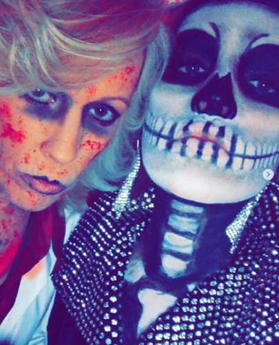 Ex-OLTL and GH's Kristen Alderson with mom step out for Halloween.