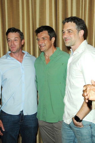 "My Three Joes!  Tom Degnan, Nathan Fillion and Chris McKenna strike a post and a show of ""Buchanan men"" force!"