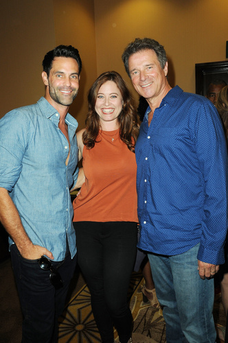 One Life to Live's Melissa Archer (Ex-Natalie) with Jason-Shane Scott (Ex-Will) and James DePaiva (Ex-Max).