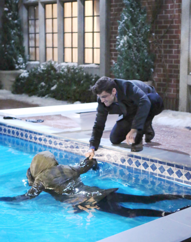 For those who like big idea costumes - what about stepping out with your partner or spouse as a presumed dead body floating in a pool (Lola) and her rescuer, Kyle from Y&R.