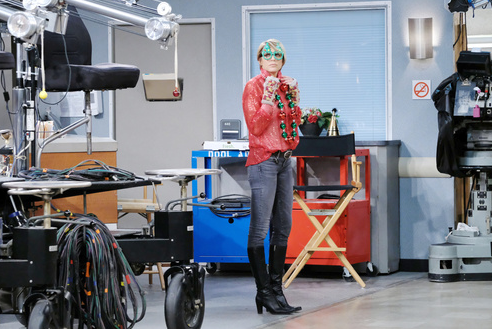 """Ari Zucker gets readfy to tape her part in the DOOL app """"Jingle Bells"""" Christmas video for the fans."""