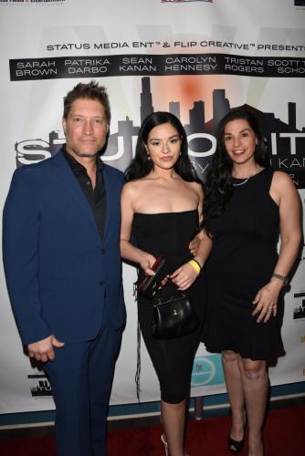 'Studio City' star and creator Sean Kanan and his wife, writer, Michele Kanan flanking Juliet Vega.