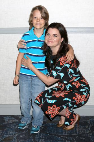 Heather Tom strikes a pose with her on-screen son, Finnegan George.