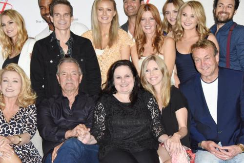 Y&R fan club president Cathy Tomas flanked by the cast for a job well-done!