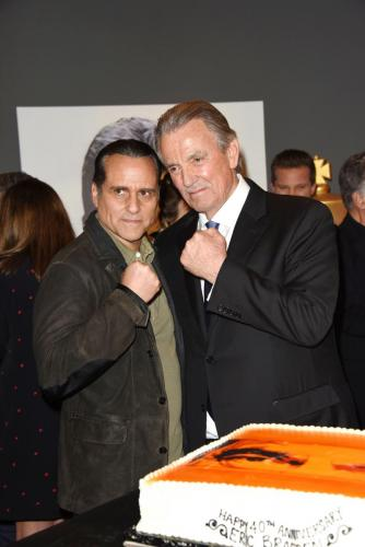 Two icons! Fans have always wanted to see a crossover storyline featuring GH's Maurice Benard and Y&R's Eric Braeden.  But for now, Maurice stops by to pay tribute to Eric.