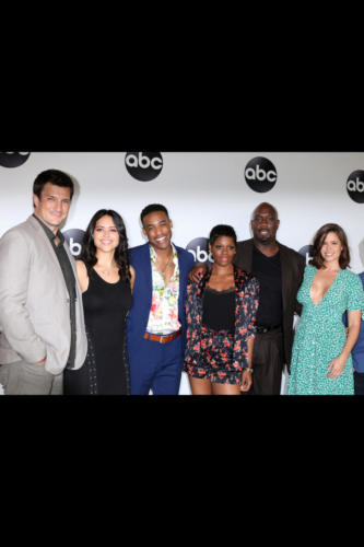 "The cast of ""The Rookie"": Nathan Fillion, Alyssa Diaz, Titus Makin Jr, Afton Williamson, Richard T Jones, and Mercedes Mason."
